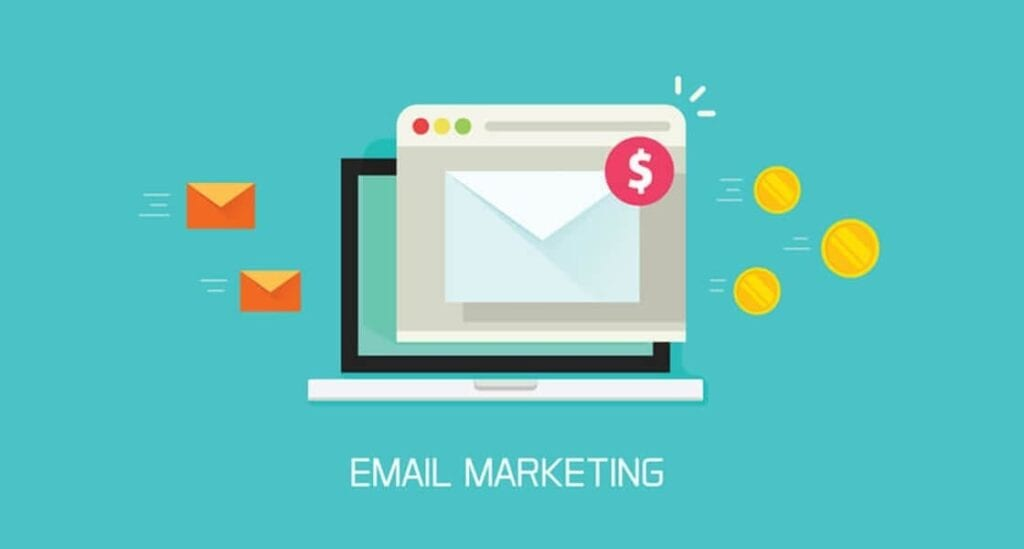Email marketing campaign vector, flat laptop computer screen with browser window and newsletter conversion to money email markerting - Email marketing1120x600px 1024x549 - Why your business needs EDM in 2018